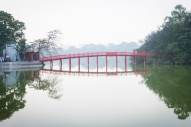 A bridge leads to Ngoc Son Temple in the middle of Hanoi's Hoan Kiem Lake.